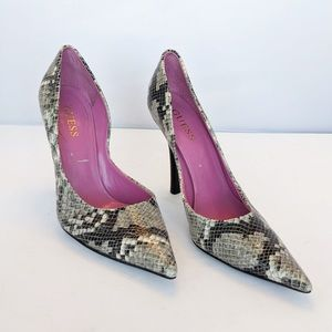 Guess Snakeskin Pointed Toe Heels Stiletto 8